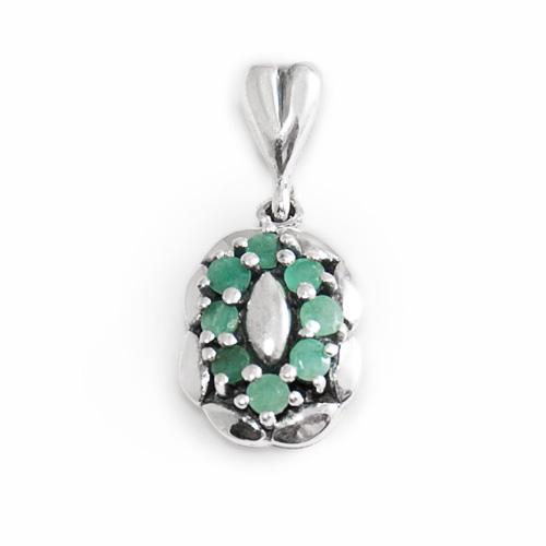 Pandantiv argint cu smaralde