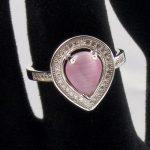 Inel argint cu ochi de pisica roz si zirconii (pietre semipretioase)