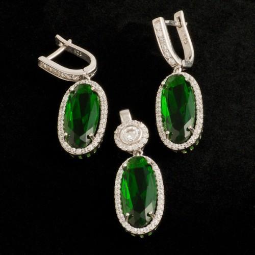 Set argint cu piatra verde semipretioasa