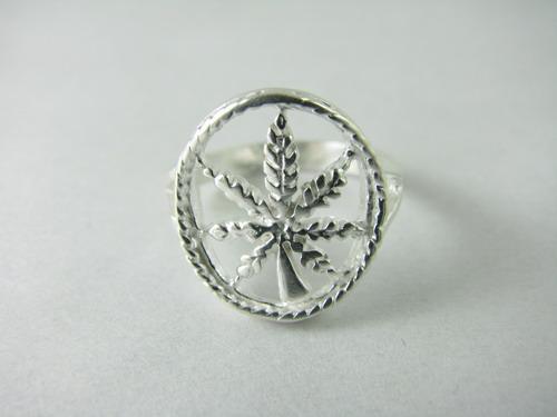 Inel argint cu frunza de Marijuana