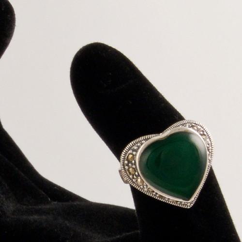 Inel argint cu Agata verde si marcasite