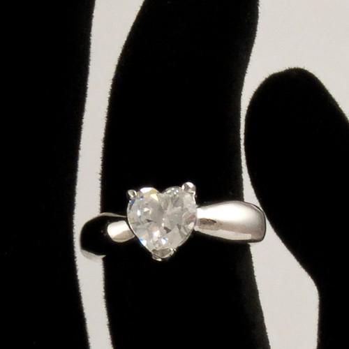 Inel cu piatra forma de inima din argint