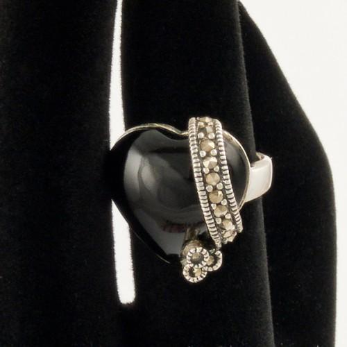 Inel argint cu Agat negru si marcasite
