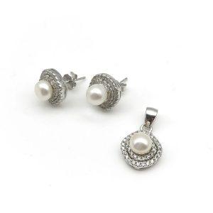 Set argint perle (Cercei si pandantiv)
