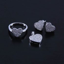 Set argint forma de inima cu zirconii