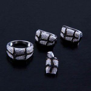 Set argint cu zirconii model abstract