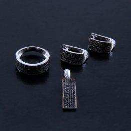 Set cu pietre negre semipretioase din argint
