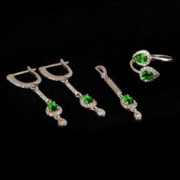 Set argint cu zircon verde