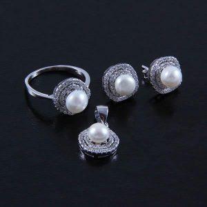 Set argint perle de cultura