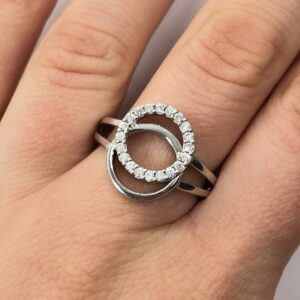 Inel argint rodiat model cercuri