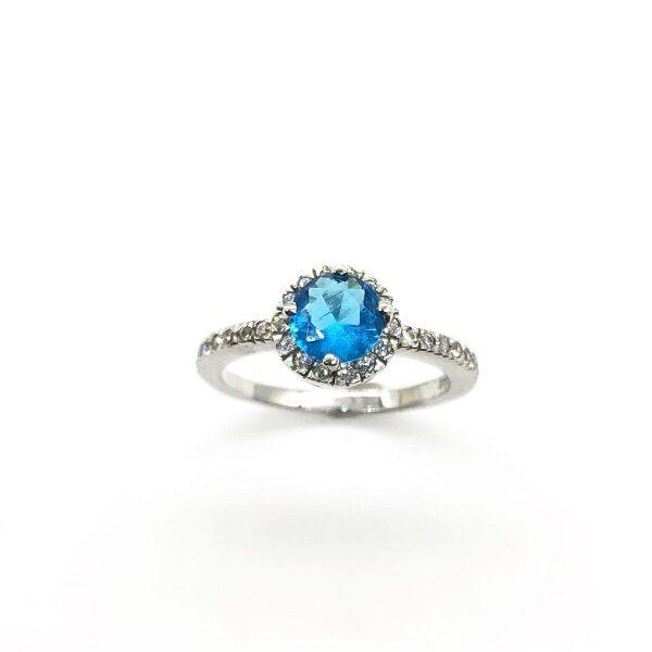 Inel cu piatra bleu din argint