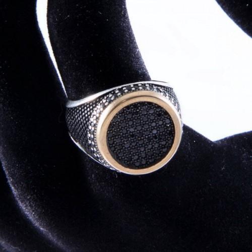 Inel barbati argint cu micro zirconii negre
