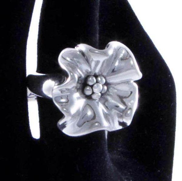 inel argint floare