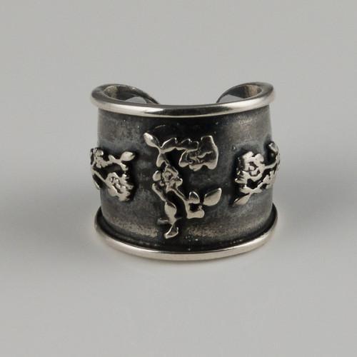 Inel lat argint patinat model floral