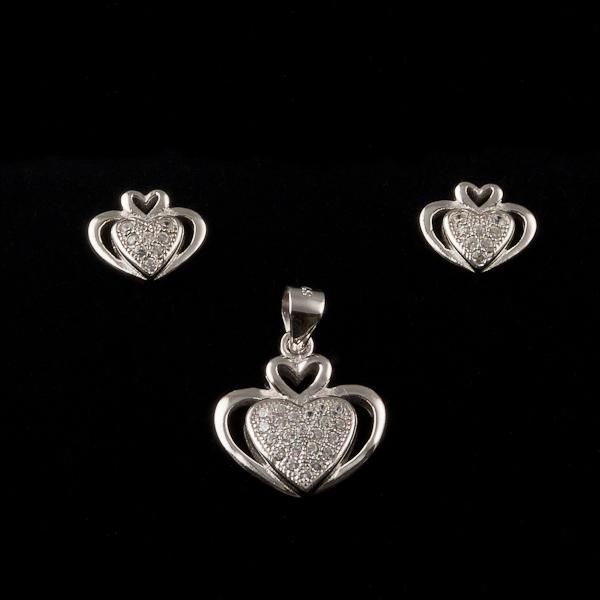 cercei inimioare argint