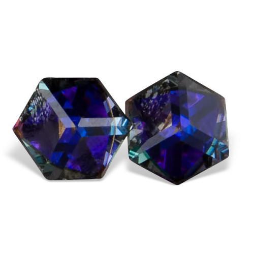 Cercei argint cu cristale Swarovski mov in forma de cub