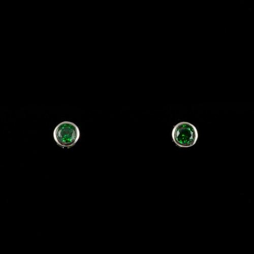Cercei mici argint cu zircon verde