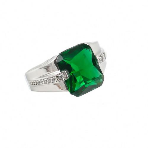 Inel cu piatra verde semipretioasa din argint