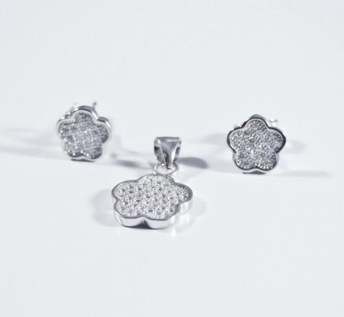 Set argint forma de floare stilizata