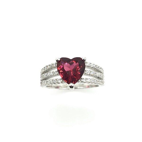 Inel inima rosie din argint