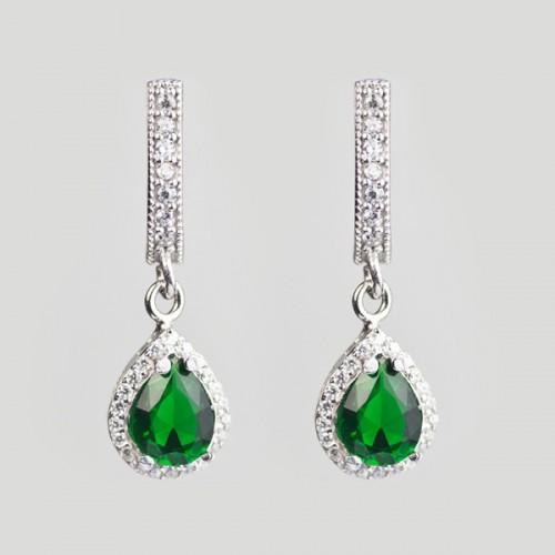 Cercei cu zircon verde din argint