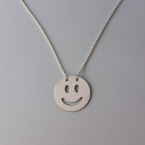 Lant cu pandantiv banut argint Smiley Face
