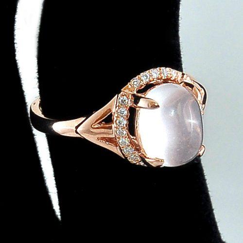 Inel argint cu piatra roz semipretioasa