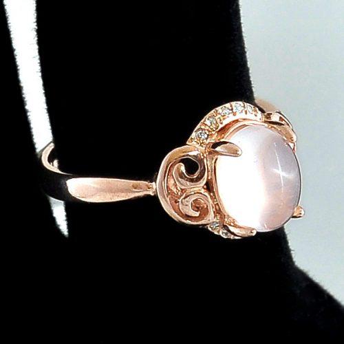 Inel argint roz cu piatra roz semipretioasa