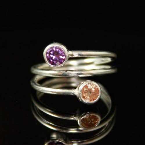 inel argint cu zirconii