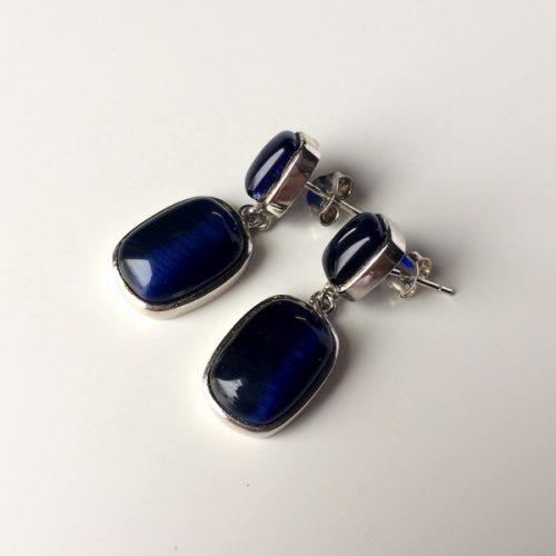 Cercei cu piatra albastra semipretioasa Cianit