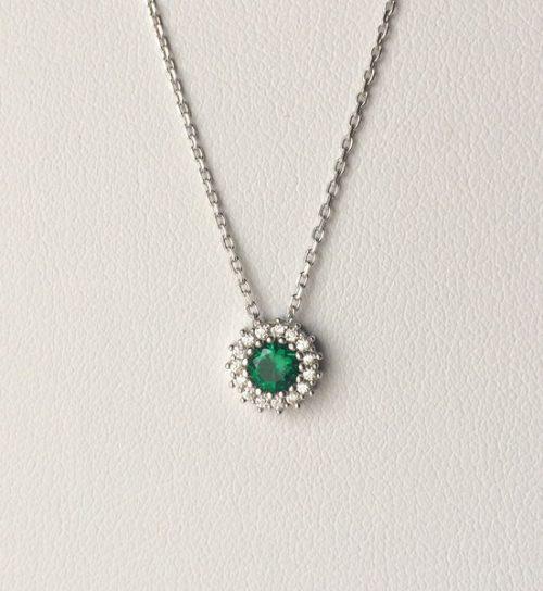Colier argint cu zircon verde