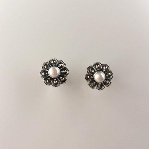 Cercei argint cu perla si marcasite
