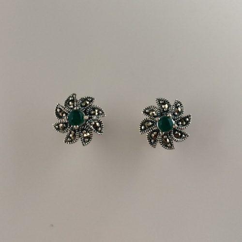 Cercei argint cu smarald si marcasite