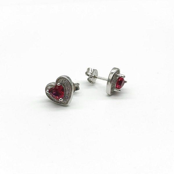 Cercei cu piatra rosie din argint