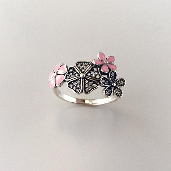 Inel argint flori