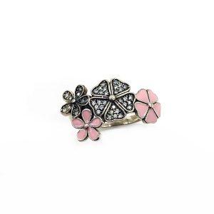 Inel argint flori de cires roz
