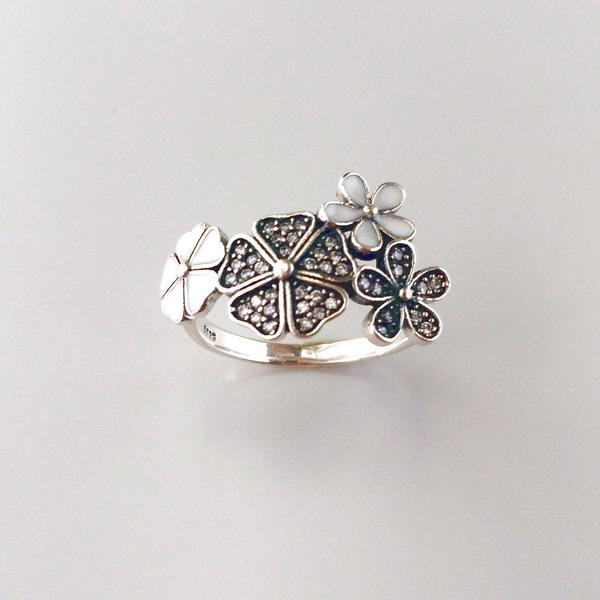 Inel floare argint