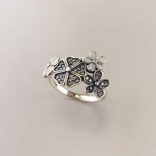 inel argint flori de cires