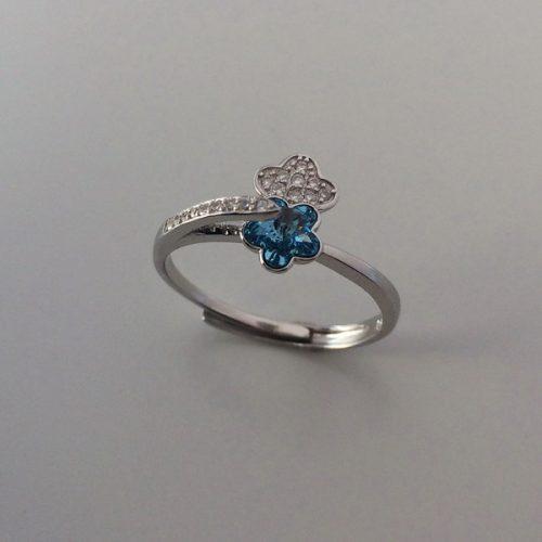 Inel argint reglabil cu zirconiu bleu