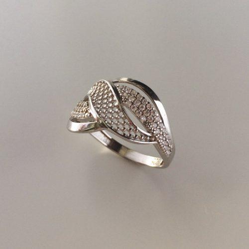 Inel argint model abstract cu zirconii