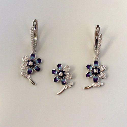 Set argint flori emailate