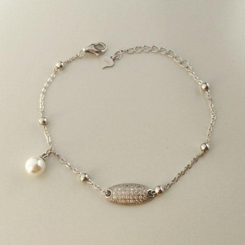 Bratara cu perla din argint