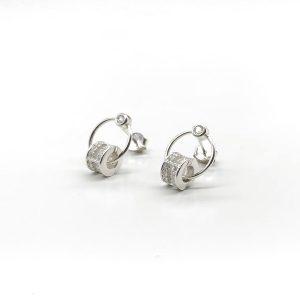 Cercei rotunzi argint cu zirconii