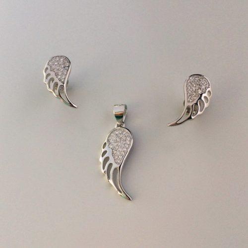 Set din argint aripi de inger