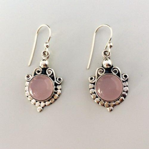Cercei cuart roz din argint aspect vintage
