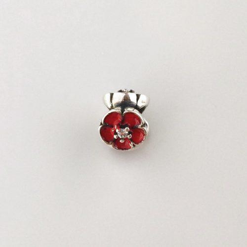 Charm argint floare rosie