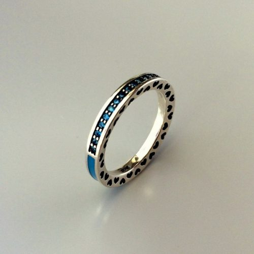 Inel argint cu zirconii albastre