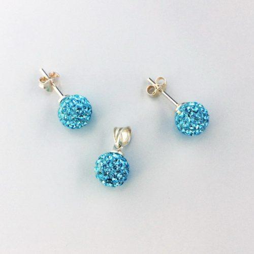 Set argint cu pietre bleu