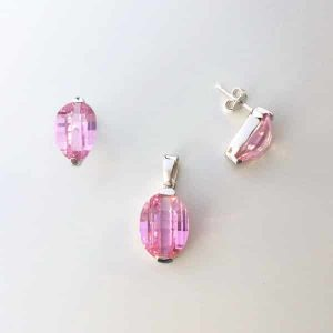 Set argint cu pietre roz