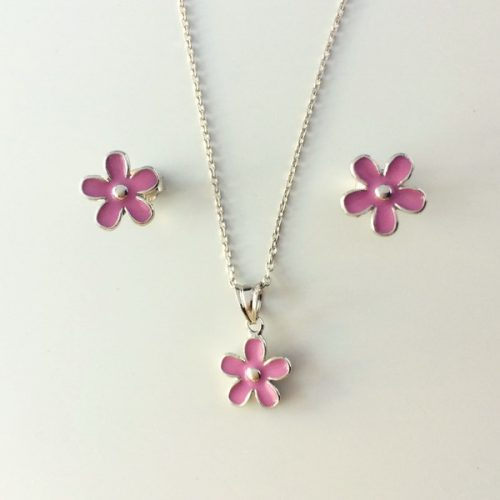 Set din argint Pink Flower